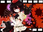 1girl black_hair camera detached_wings film_strip floral_print gears hat highres rarorimiore red_eyes shameimaru_aya short_hair solo tokin_hat touhou wings