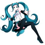 1girl aqua_hair boots detached_sleeves green_eyes hatsune_miku long_hair necktie simple_background skirt smile solo thigh-highs thigh_boots torigoe_takumi twintails very_long_hair vocaloid white_background