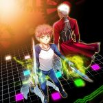 2boys archer dark_skin emiya_shirou fate/stay_night fate_(series) gears kanshou_&_bakuya multiple_boys raglan_sleeves redhead setta_(tokinon) unlimited_blade_works white_hair