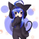 acchi_kocchi aerlai animal_costume blue_hair blush cosplay highres kigurumi miniwa_tsumiki tail violet_eyes