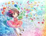 1girl brown_eyes brown_hair butterfly child dress fish hair_ribbon hairband highres jellyfish long_hair moxue_qianxi original plant rainbow ribbon solo stylus tablet