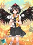 1girl :o bird_wings black_hair blouse blue_sky brown_eyes camera floral_print hat highres kneehighs leaf looking_at_viewer maple_leaf necktie newspaper pom_pom_(clothes) shameimaru_aya short_hair skirt sky solo tailam tokin_hat touhou white_legwear