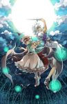 2girls apron arm_up bat bat_wings blue_dress blue_eyes braid clouds dress full_moon hair_ribbon hat hat_ribbon izayoi_sakuya knife lights magic_circle maid maid_headdress moon multiple_girls night outstretched_arm pocket_watch puffy_sleeves red_eyes remilia_scarlet ribbon sash shirt short_sleeves skirt skirt_set sky touhou twin_braids waist_apron watch wings yagimiwa