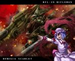 1girl arm_cannon aura battletech blue_hair cannon character_name crossover fang flat_chest gun hat mecha mechwarrior moon outstretched_arm red_eyes red_moon remilia_scarlet ribbon rifleman robot scarlet_devil_mansion short_hair solo touhou weapon wings