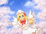 1girl blonde_hair blue_eyes blue_sky bow capelet cherry_blossoms fairy_wings hat hat_bow highres lily_white long_hair long_sleeves looking_at_viewer open_mouth outstretched_arms petals s_katsuo shirt skirt sky smile solo touhou tree wings