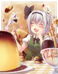 1girl blush bow checkered chocolate doughnut eating food fork fruit hair_ribbon hairband heart highres konpaku_youmu oukawa_yuu parfait pudding ribbon short_hair silver_hair smile solo strawberry table touhou
