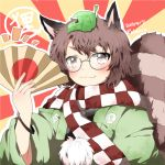 1girl animal_ears brown_eyes brown_hair fan futatsuiwa_mamizou glasses leaf leaf_on_head pince-nez raccoon_ears raccoon_tail rebecca_(keinelove) scarf short_hair smile solo tail touhou