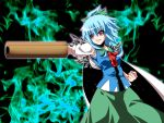 1girl blue_hair bow cape cirno fal_(falketto) fire fusion hair_bow long_skirt ponytail pose red_eyes reiuji_utsuho short_hair skirt smile solo third_eye touhou weapon wings