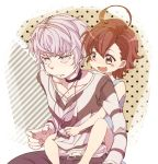 1boy 1girl accelerator brown_eyes brown_hair choker earphones highres last_order piggyback short_hair to_aru_majutsu_no_index white_hair yui_(5minutes)