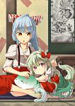 2girls :o =_= barefoot bird blue_hair bow dress drooling ex-keine fujiwara_no_mokou hair_bow highres ho-oh horn_ribbon horns indian_style juliet_sleeves kamishirasawa_keine long_hair long_sleeves looking_at_viewer lying_on_person mat multicolored_hair multiple_girls no_shoes ofuda orange_eyes pants phoenix picture_(object) pokemon puffy_sleeves red_eyes ribbon senhaku short_sleeves sitting sleeping smile sukusuku_hakutaku suspenders tail tatami touhou two-tone_hair
