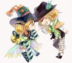 2boys ^_^ asymmetrical_clothes bell blonde_hair cape closed_eyes gremlin_(kamen_rider_wizard) hakuel hat jingle_bell kamen_rider kamen_rider_wizard_(series) luckyuro multiple_boys open_mouth personification scarf shirt sleeves_past_wrists smile striped striped_shirt super_sentai thigh-highs twintails vest yellow_eyes zyuden_sentai_kyoryuger