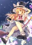 1girl black_dress blonde_hair bloomers bow braid broom broom_riding capelet dress fingerless_gloves fukahire_sanba gloves grin hair_ribbon hat hat_bow kirisame_marisa long_hair looking_at_viewer mini-hakkero night puffy_sleeves ribbon shirt short_sleeves sky smile solo star_(sky) starry_sky touhou very_long_hair white_gloves witch_hat yellow_eyes
