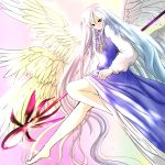 1girl angel_wings barefoot black_eyes crest dress gradient gradient_background gradient_hair high_collar highres jewelry leg_up legs light_smile long_hair long_sleeves multicolored_hair necklace nyago sariel solo staff touhou touhou_(pc-98) very_long_hair wings