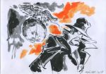 hayama_jun'ichi lupin_iii marker_(medium) solo traditional_media zenigata_kouichi