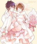 1boy 1girl blush bouquet bridal_veil bride brown_eyes brown_hair carrying couple dress elbow_gloves flower formal gloves gown grin hetero kougami_shin'ya mj_(11220318) princess_carry psycho-pass purple_hair short_hair smile suit tsunemori_akane veil violet_eyes wedding_dress