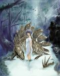 1girl bare_legs dress forest nature pixiv_fantasia purple_hair river shikine_hiroshi short_hair skeleton solo stegosaurus wet white_dress