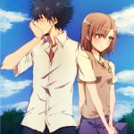 1boy 1girl black_hair brown_eyes brown_hair embarrassed kamijou_touma misaka_mikoto school_uniform short_hair spiky_hair to_aru_kagaku_no_railgun to_aru_majutsu_no_index yokaranu_yuuna