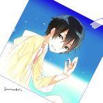 1boy black_eyes black_hair jianmo_sl kirito male marble photo_(object) short_hair sword_art_online