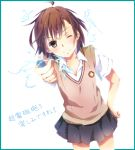 biribiri brown_eyes brown_hair coin electricity misaka_mikoto saya_(ccmkk54) school_uniform short_hair to_aru_kagaku_no_railgun to_aru_majutsu_no_index
