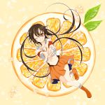 1girl arancia boots brown_hair food fruit highres kizunakiseki long_hair looking_at_viewer midriff navel orange orange_eyes original skirt smile solo twintails wink
