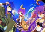 4girls cosplay costume dutch_angle hiiragi_kagami hiiragi_tsukasa izumi_konata lucky_star multiple_girls staff suno-pi takara_miyuki yuu-gi-ou