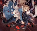 2girls alice_(wonderland) alice_in_wonderland animal_ears apron blonde_hair blue_dress blue_eyes bottle dhiea dress flower hair_ribbon hat jacket juliet_sleeves long_sleeves mini_top_hat multiple_girls petals pocket_watch puffy_sleeves rabbit_ears red_eyes ribbon shirt short_hair silver_hair skirt skirt_set thigh-highs top_hat watch