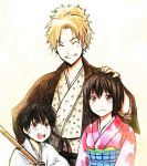 1girl 2boys black_hair blonde_hair brown_eyes closed_eyes dot-dot gintama grin hand_on_another's_head japanese_clothes kimono multiple_boys obi_hajime ponytail shimura_shinpachi shimura_tae short_hair smile white_background young