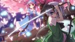 2girls armband belt blue_eyes breasts butterfly cherry_blossoms dutch_angle east_asian_architecture fireflies grass hair_ribbon hands_in_sleeves hitodama itsutsuki japanese_clothes katana kimono konpaku_youmu konpaku_youmu_(ghost) looking_at_viewer looking_away mob_cap multiple_girls night night_sky obi pink_hair planted_sword planted_weapon ribbon rock saigyouji_yuyuko scabbard sheath shide shimenawa short_hair short_sleeves skirt skirt_set sky sword touhou tree triangular_headpiece unsheathed weapon white_hair