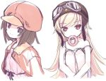 2girls bakemonogatari blonde_hair brown_eyes brown_hair doughnut goggles goggles_on_head hat helmet kiira long_hair monogatari_(series) mouth_hold multiple_girls oshino_shinobu sengoku_nadeko short_hair