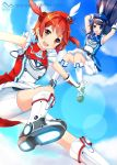 2girls bike_shorts blue_eyes blue_hair blush falling futaba_aoi_(vividred_operation) hairband hat isshiki_akane long_hair multiple_girls ok-ray palette_suit red_eyes redhead short_hair twintails vividred_operation