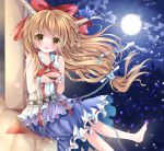 1girl barefoot belt blonde_hair blush bow chain clouds full_moon hair_bow horn_ribbon horns ibuki_suika long_hair looking_at_viewer low-tied_long_hair moon night nogi_takayoshi open_mouth petals ribbon sakazuki shackle sitting skirt sky sleeveless sleeveless_shirt smile solo touhou very_long_hair yellow_eyes