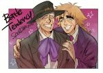 2boys ^_^ blonde_hair bow car closed_eyes dual_persona formal grey_hair grin hat jojo_no_kimyou_na_bouken long_hair motor_vehicle multiple_boys old_man robert_eo_speedwagon rr13star scar smile suit vehicle
