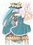 1girl blue_hair boots botaofnw buckle embellished_costume flower food fruit garterstrap hair_between_eyes hat hat_flower hinanawi_tenshi lace lace-trimmed_thighhighs leg_up long_hair long_skirt orange_eyes pale_skin peach purple_legwear shimenawa sitting skirt solo sword thigh-highs touhou weapon