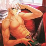 1boy abs archer book couch dark_skin fate/extra_ccc fate_(series) fit glasses grey_eyes highres lying male navel on_back shirtless sofa solo takeuchi_takashi unbuttoned white_hair