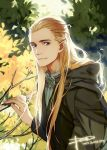 1boy artist_name blue_eyes braid branch dated elf leaf legolas long_hair looking_at_viewer lord_of_the_rings male pointy_ears psd smile solo tree