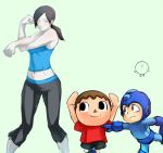 1girl 2boys aqua_background doubutsu_no_mori exercise mafen midriff multiple_boys navel rockman rockman_(character) simple_background smile super_smash_bros. trainer_(wii_fit) villager_(doubutsu_no_mori) wii_fit
