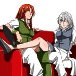 2girls crossed_legs hong_meiling izayoi_sakuya multiple_girls no_hat no_headwear sitting touhou