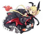 1girl bat bat_wings blazblue blonde_hair cat cup dress gii hair_ribbon lolita_fashion long_hair nago rachel_alucard red_eyes ribbon sitting smile teacup twintails very_long_hair wings