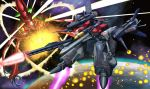 alien battle cannon explosion gerwalk gunpod i.t.o_daynamics macross macross_frontier mecha monster planet space vajra vf-25