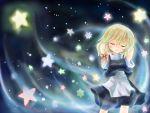 1girl arms_behind_head blonde_hair blush closed_eyes hair_ribbon kirisame_marisa long_hair ribbon solo straddle touhou