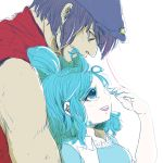 1boy 1girl blue_eyes blue_hair genderswap hat kaku_seiga leaning_on_person looking_at_another miyako_yoshika size_difference smile star string touhou zasasaba