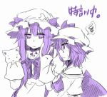 bat_wings crescent hand_puppet patchouli_knowledge puppet remilia_scarlet spoken_squiggle squiggle star touhou wings yuuta_(monochrome)