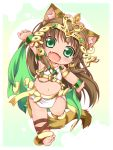 1girl animal_ears ankle_lace-up anklet barefoot bastet_(p&d) brown_hair cat_ears cat_tail cross-laced_footwear crown egyptian fang green_eyes jewelry kuroneko_liger long_hair midriff open_mouth puzzle_&_dragons solo tail
