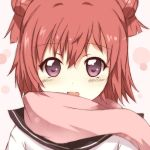 1girl akaza_akari double_bun hair_bun kotaka looking_at_viewer open_mouth redhead scarf short_hair violet_eyes yuru_yuri