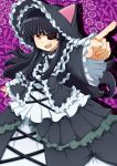 >:d 1girl :d black_hair eyepatch fang gothic_lolita highres index_finger_raised lolita_fashion long_hair looking_at_viewer mirai_(senran_kagura) open_mouth pointing red_eyes senran_kagura smile solo teeth