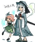 2girls annoyed cosplay costume_switch female geta kiga3bon konpaku_youmu multiple_girls saigyouji_yuyuko sandals sketch touhou young