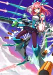 1girl :d armor black_legwear blue_eyes fatkewell flying funnels gun headgear missile open_mouth pantyhose pink_hair rifle skirt sky smile tagme weapon
