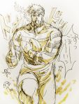 1boy jojo_no_kimyou_na_bouken jonathan_joestar marker_(medium) rugby running shirt solo striped striped_shirt traditional_media yokota_mamoru