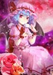 1girl ascot bat_wings blue_hair chair cup dress flower full_moon looking_at_viewer moon petals pink_dress pink_eyes pink_rose puffy_sleeves red_moon remilia_scarlet rose sakura_ran short_hair short_sleeves sitting smile solo teacup touhou wings wrist_cuffs yellow_rose