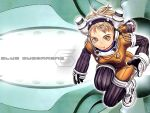 1girl blonde_hair blue_submarine_no_6 bodysuit breasts character_request diving_suit headset murata_renji shoes short_hair solo title_drop wallpaper yellow_eyes